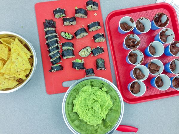 #52NewFoods guacamole avocado sushi rolls and chocolate pudding on eatlivetravelwrite.com