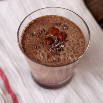 Hazelnut chocolate smoothie on eatlivetravelwrite.com