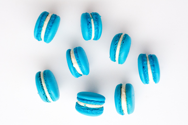 Blueberry macarons with cream cheese filling on eatlivetravelwrite.com