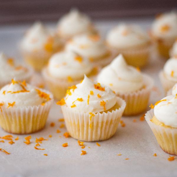 Mini orange almond cupcakes on eatlivetravelwrite.com