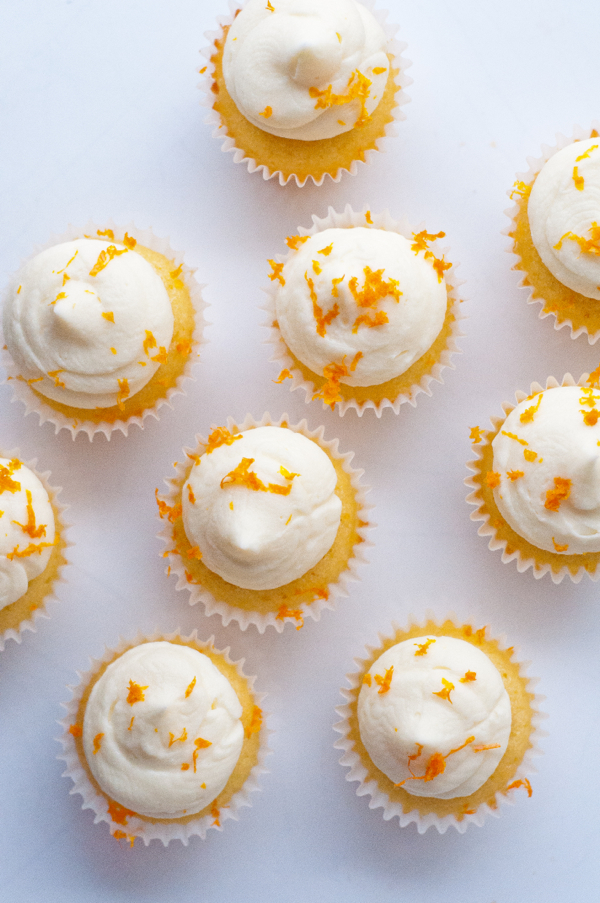 Mini orange almond cupcakes for National Cupcake Day on eatlivetravelwrite.com