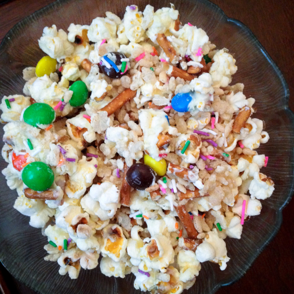 Birthday party popcorn from Gatherings on eatlivetravelwrite.com
