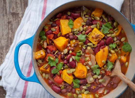 Vegetarian chilli with wheatberries and pumpkin seeds on eatlivetravelwrite.com