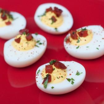 Chorizo, saffron and goat cheese devilled eggs on eatlivetravelwrite.com