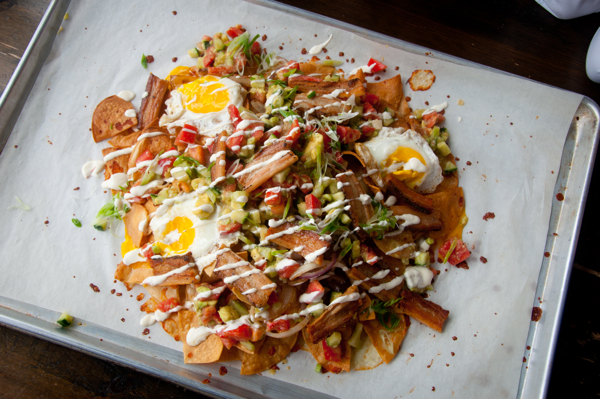 Bacon and egg nachos at Lisa Marie on eatlivetravelwrite.com
