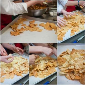 Kids assembling bacon and egg nachos on eatlivetravelwrite.com
