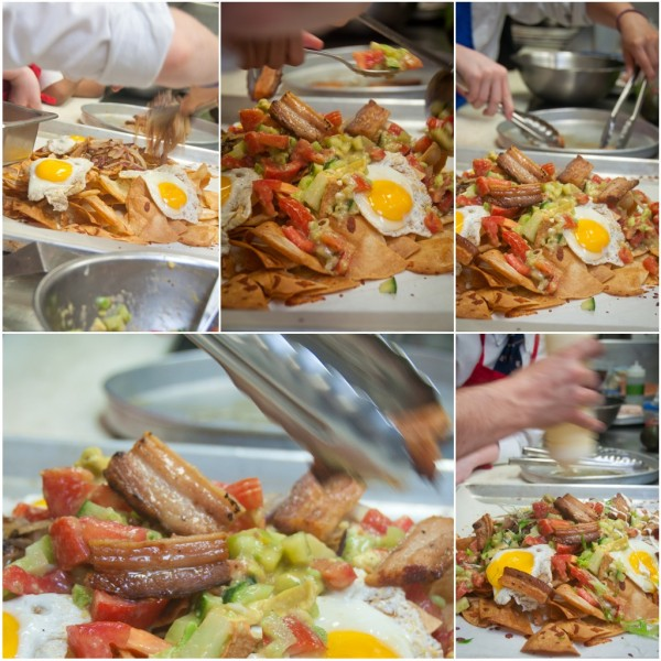 Kids assembling bacon and egg nachos on eatlivetravelwrite.com