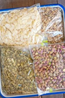 Nuts organised in GLAD Storage Zipper Bags on eatlivetravelwrite.com