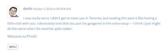 Dorie comment on eatlivetravelwrite.com