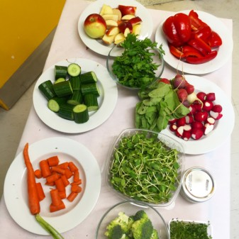 Prepping Jamie Oliver Squash It Sandwich ingredients at St Albans Boys and Girls Club on eatlivetravelwrite.com