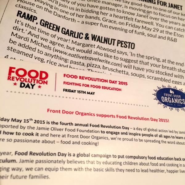Front Door Organics flyers on Food Revolution Day on eatlivetravelwrite.com