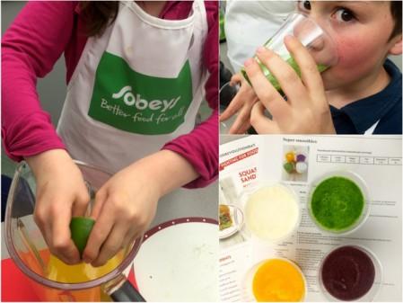 Making Jamie Oliver smoothies for Food Revolution Day on eatlivetravelwrite.com