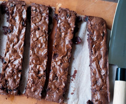 Dorie Greenspan chocolate cherry brownies from #BakingChezMoi on eatlivetravelwrite.com