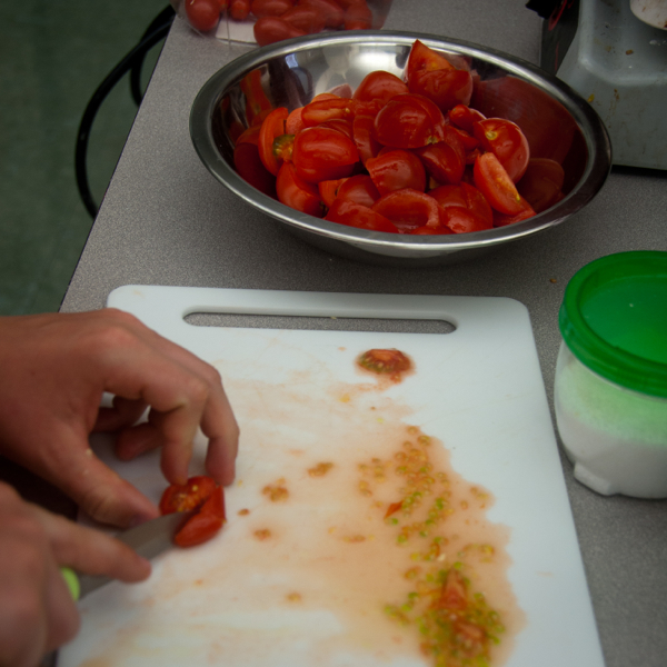 Kids chopping tomatoes for pasta sauce on eatlivetravelwrite.com