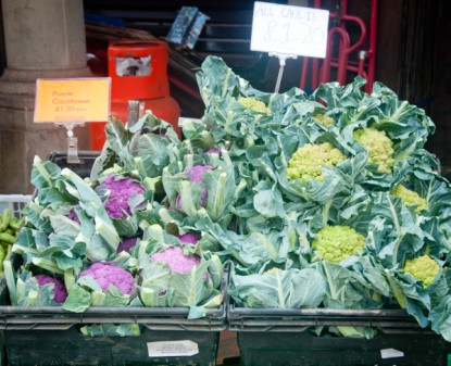 Brightly coloured cauliflower at Stroud Farmers Market on eatlivetravelwrite.com