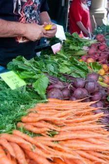 Sampling beets at Stroud Farmers Market on eatlivetravelwrite.com