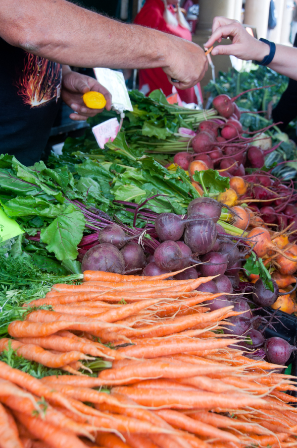 Tasting beets at Stroud Farmers Market on eatlivetravelwrite.com