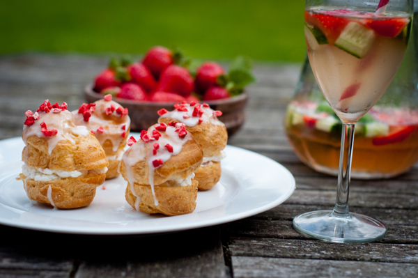 Strawberry choux puffs on eatlivetravelwrite.com