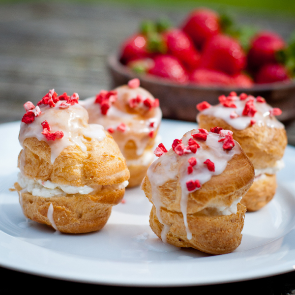 Strawberry shortcake choux buns on eatlivetravelwrite.com