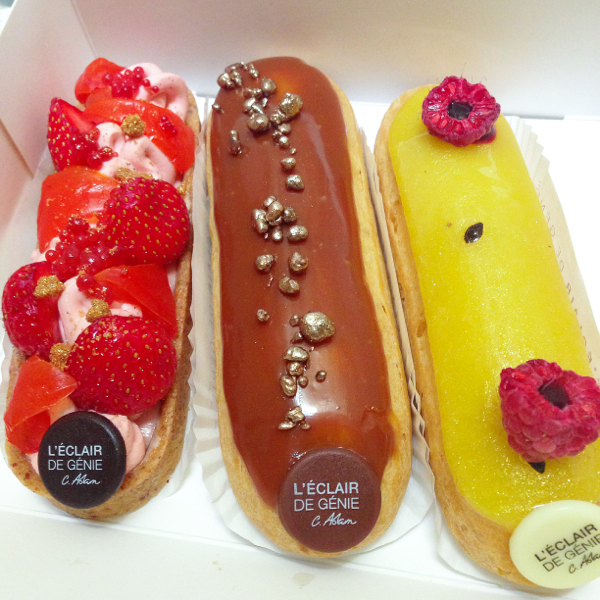 Three eclairs from Eclair de Genie Paris on eatlivetravelwrite.com