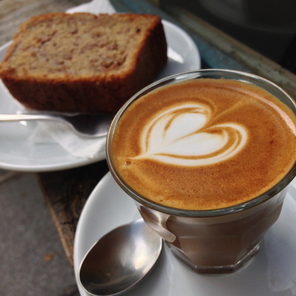 Banana bread and cortado at Boot Cafe in Paris on eatlivetravelwrite.com
