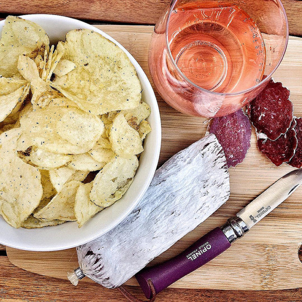 Chips and saucisson for aperitif hour on eatlivetravelwrite.com