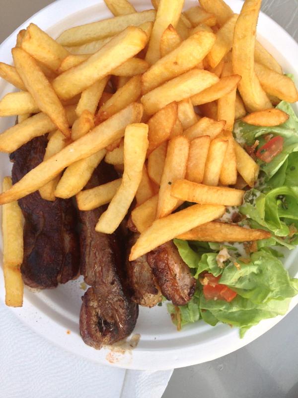 Magret de canard and frites at the night market on eatlivetravelwrite.com