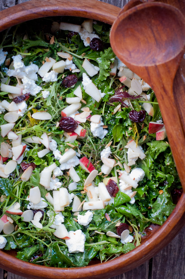 Kale, cherry and goat cheese salad with toasted almonds on eatlivetravelwrite.com