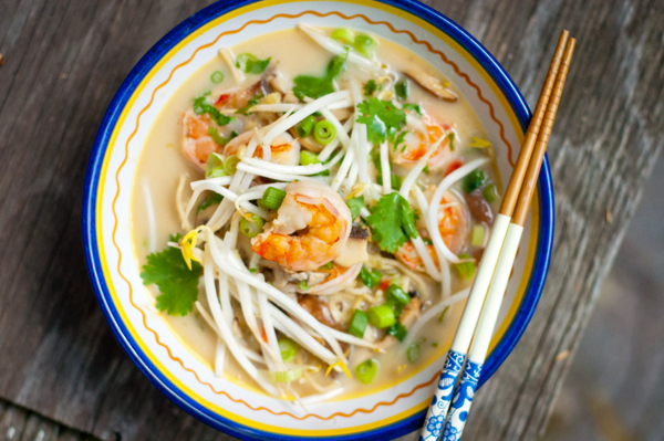 Thai coconut noodle soup with shrimp recipe on eatlivetravelwrite.com