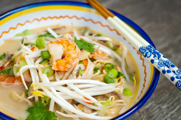 Recipe for Thai coconut noodle soup with shrimp on eatlivetravelwrite.com