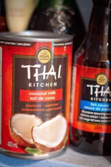 Thai Kitchen coconut milk and fish sauce in pantry on eatlivetravelwrite.com