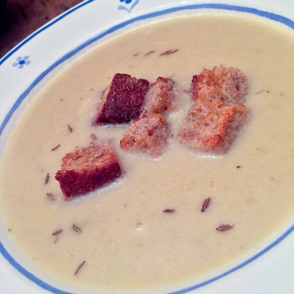 Sweet onion soup with caraway seeds and croutons from The Broad Fork on eatlivetravelwrite.com