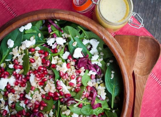 Pomegranate, spinach and feta salad on eatlivetravelwrite.com