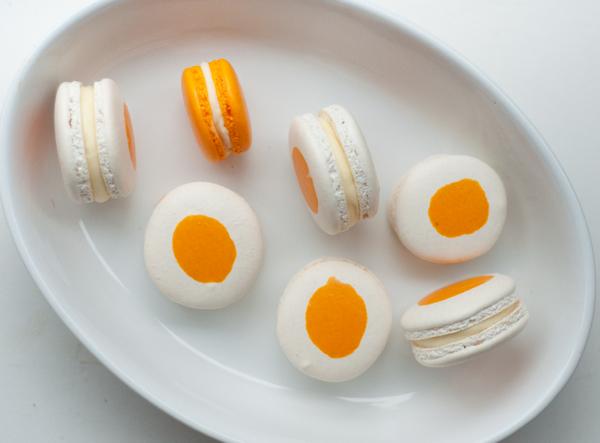 Egg macarons filled with lemon curd on eatlivetravelwrite.com