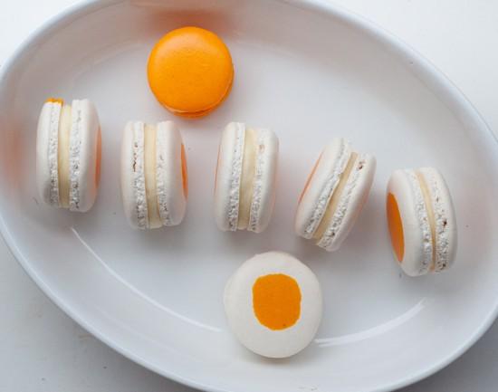 Egg macarons with cream cheese lemon curd filling on eatlivetravelwrite.com