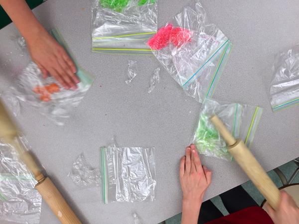 Kids crushing candy for baking on eatlivetravelwrite.com