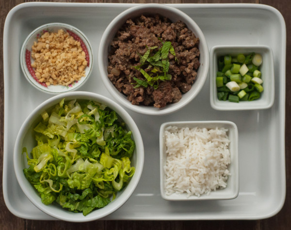 Thai Beef and Mushroom rice bowl components by Mardi Michels eatlivetravelwrite.com