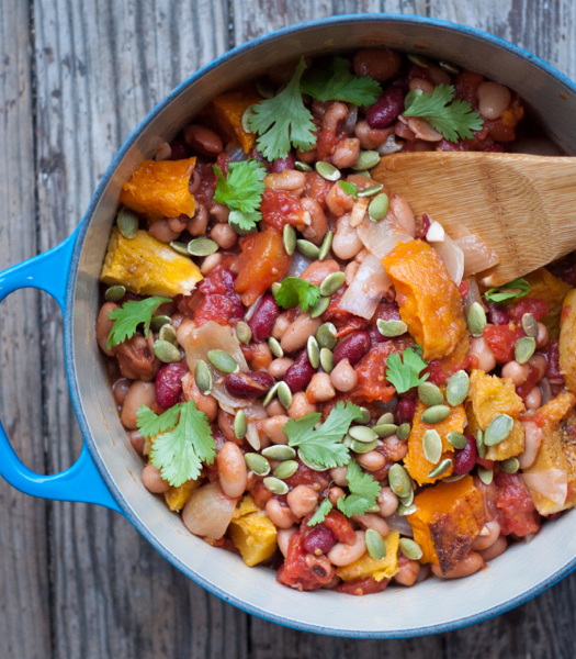 Vegetarian chili with roasted squash on eatlivetravelwrite.com