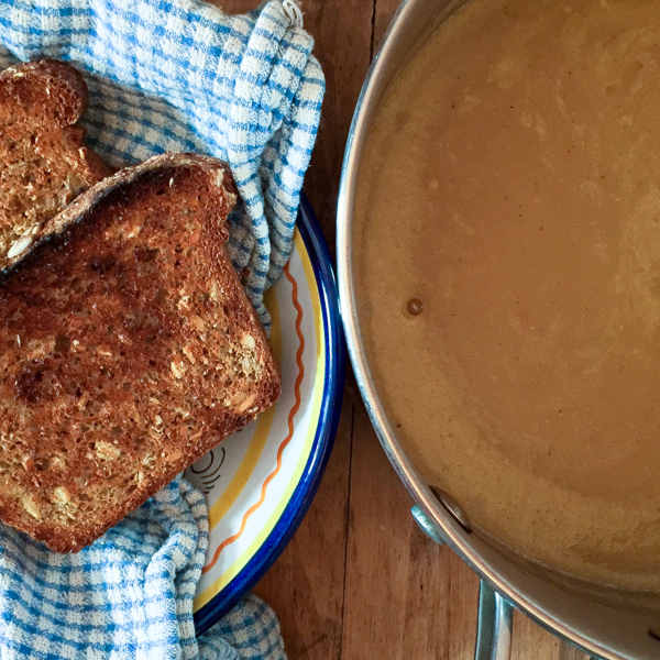 Maple Parsnip Soup and whole wheat seed bread from Homegrown on eatlivetravelwrite.com