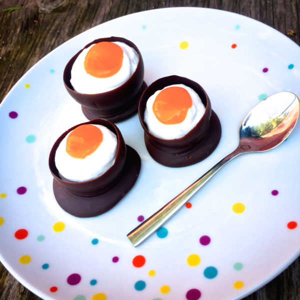 Chocolate egg shells with fake cream eggs on eatlivetravelwrite.com