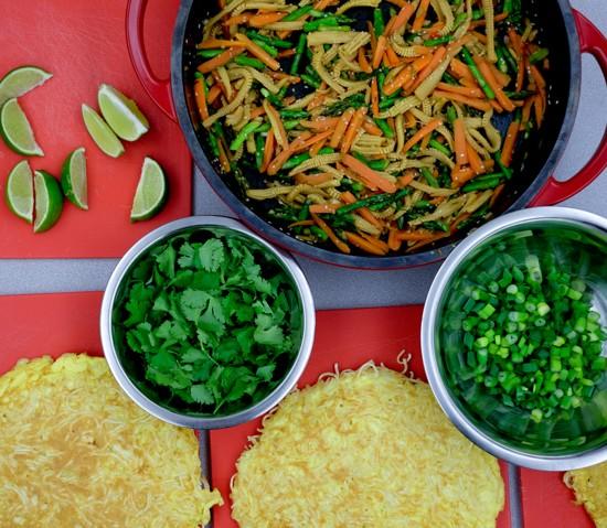 Ingredients for Jamie Oliver's Asian Stir-Fried Veg and Crispy Sesame Noodle Omelette on eatlivetravelwrite.com
