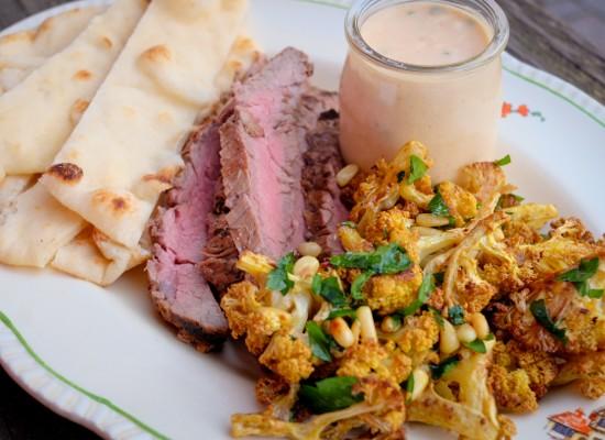 Tandoori marinated steak and roasted curried cauliflower on eatlivetravelwrite.com