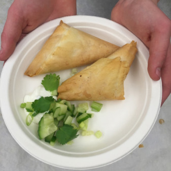 Vegetarian samosas made by kids on eatlivetravelwrite.com
