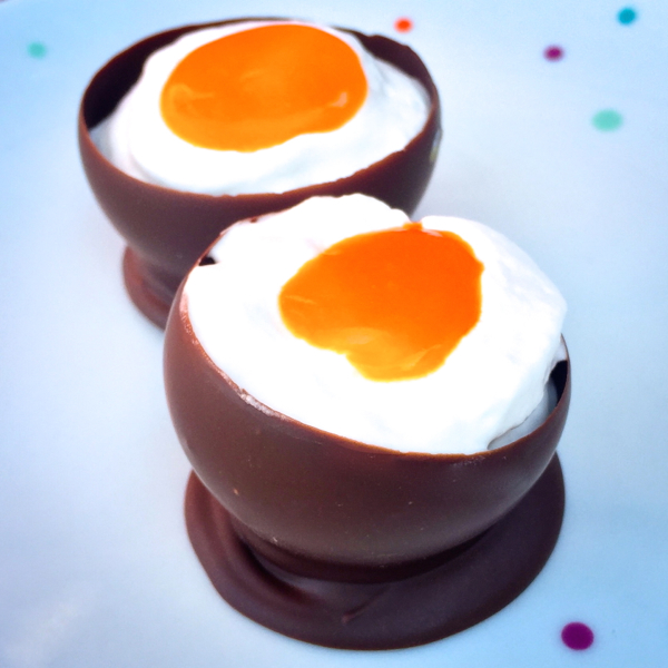 Cream eggs in chocolate egg shells on eatlivetravelwrite.com