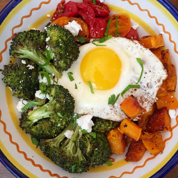 Whole Bowls Roasted Vegetable Bowls with Fried Eggs and Goat Cheese on eatlivetravelwrite.com