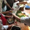 KIds assembling Pho soup at The Gallery Grill on eatlivetravelwrite.com