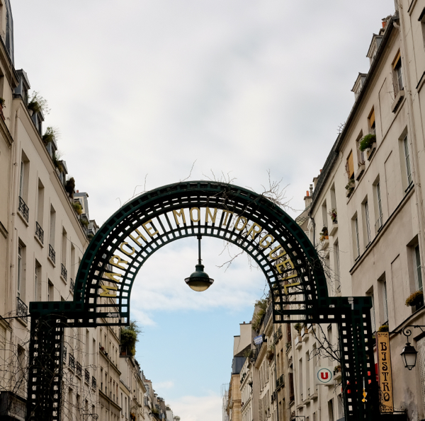 Entrance to the rue Montorgueil on eatlivetravelwrite.com