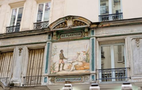 Looking up on the rue Montorgueil on eatlivetravelwrite.com