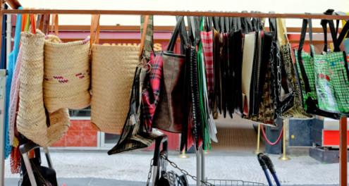 Shopping bags on the rue Montorgueil on eatlivetravelwrite.com