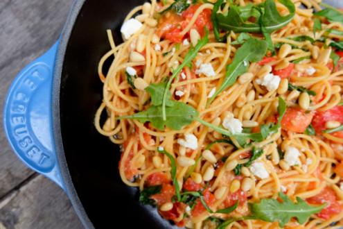 Spaghetti with tomatoes, lemon, feta and arugula on eatlivetravelwrite.com